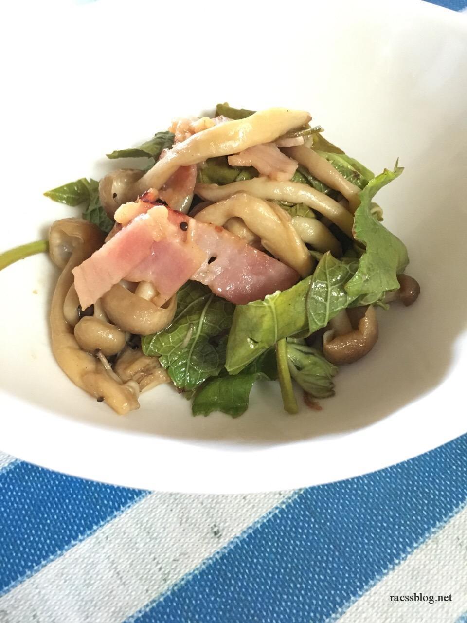 ブドウの芽とベーコンの炒め物 酸味が新鮮!