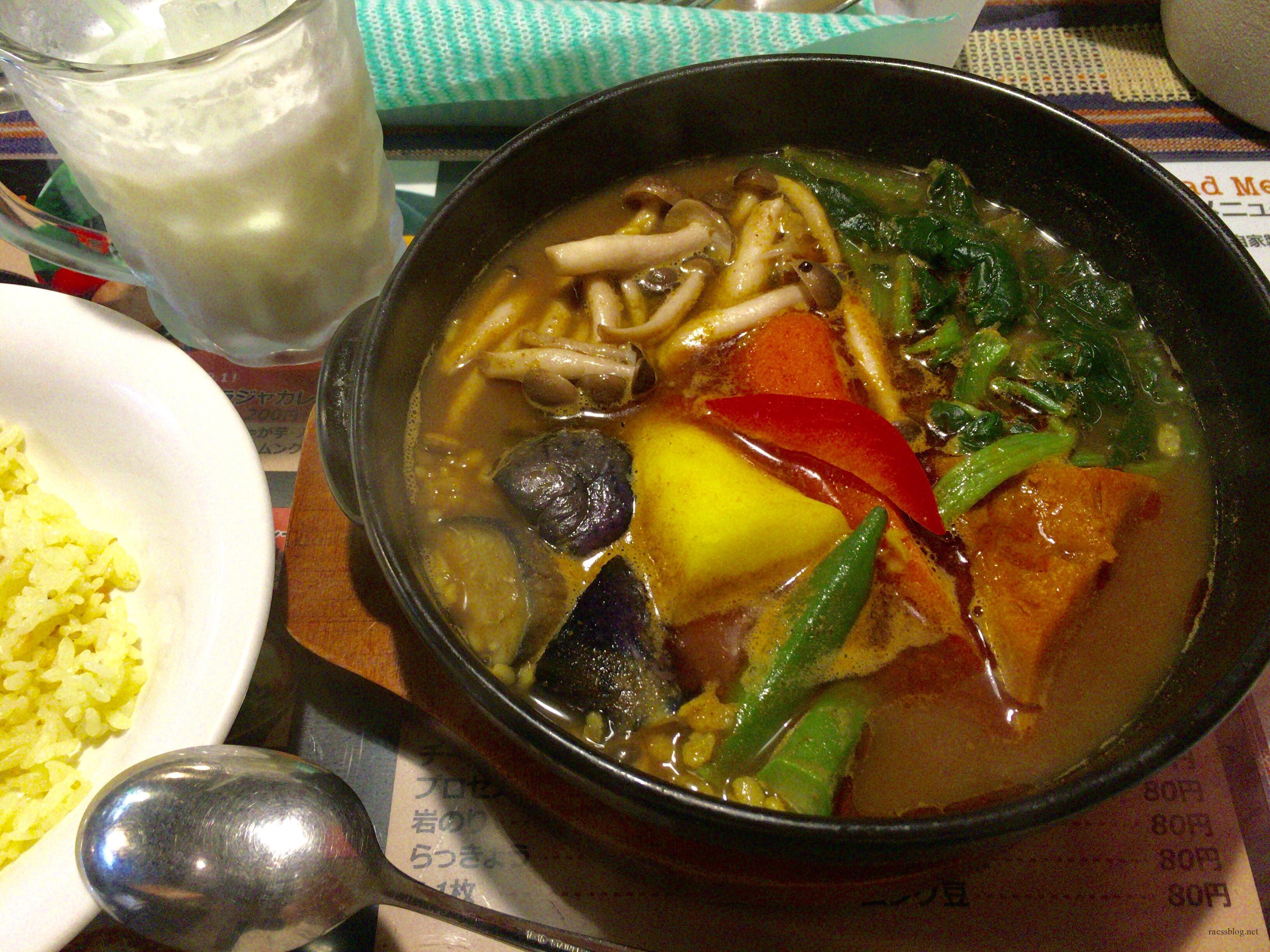 天竺(北広島店)の野菜カレーと札幌名物スープカレーの食べ方