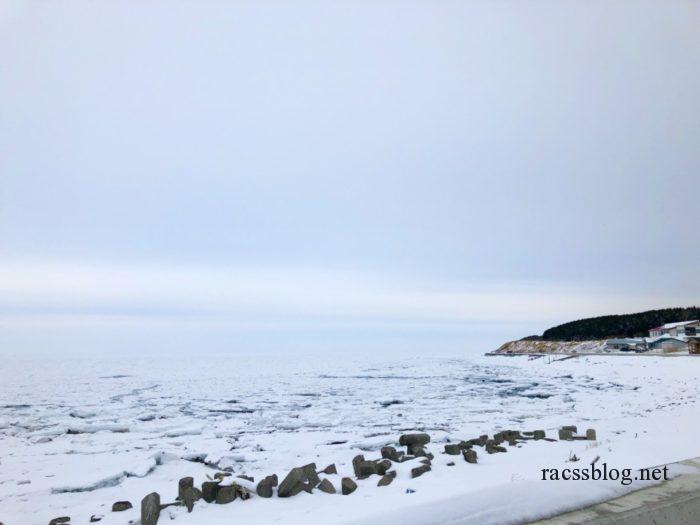 流氷で埋まった海岸
