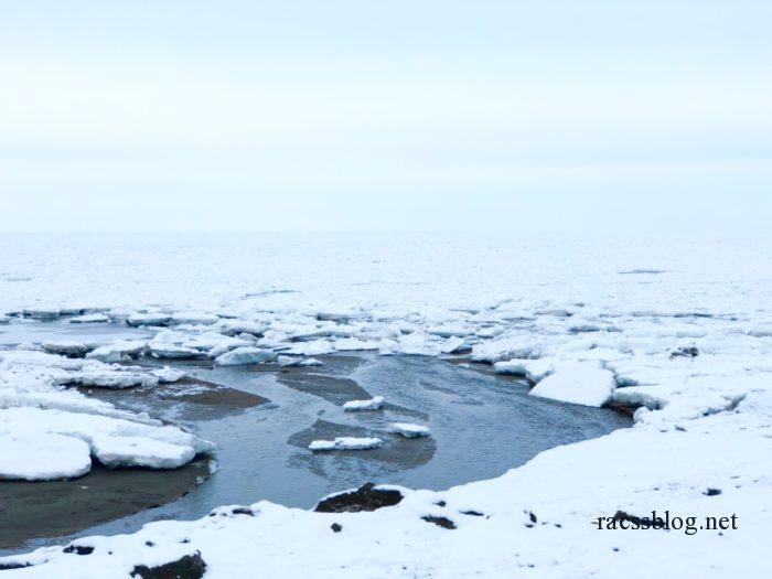 流氷接岸と流れ込み